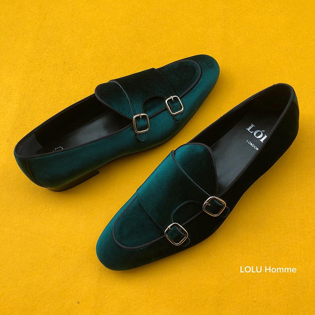 981a8fd730cb Green Velvet Double Monk Strap Loafers ( GOLD Buckles ) – Loluonline
